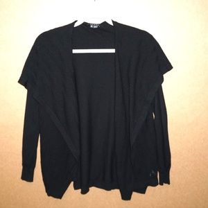 THEORY Black Cardigan Sweater Drape front Open